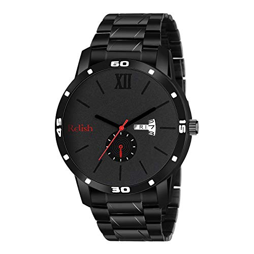 Relish Day and Date Black Analog Mens and Boys Watch (RE-BB1007DD)