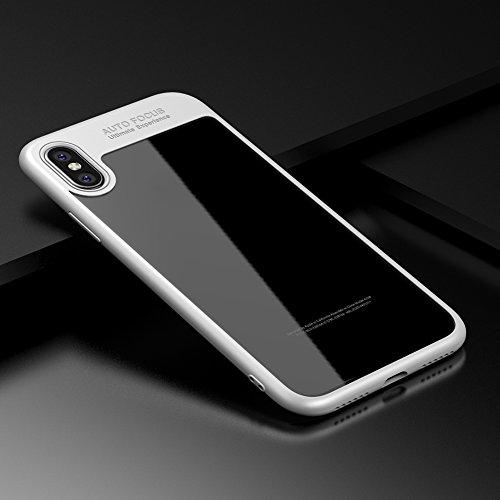 KISSION iPhone Hülle, Super Slim TPU Phone Case for iPhone X (schwarz) weiß