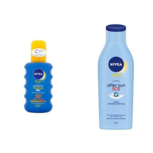 Nivea Sun Pflegendes Sonnenspray LSF 50+, 1er Pack (1 x 200 ml) + SOS After Sun Repair Lotion, 2er Pack (2 x 250 ml)