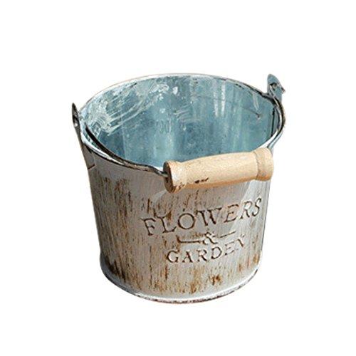 SODIAL cubo de flores de metal antiguo retro de pais decoracion de escritorio de casa creativa de flor artesania de metal cubo de hierro maceta pequena