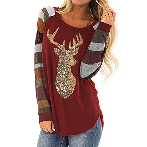 Donna T-Shirt per Natale - Donna Loose Stripe Sequin Patchwork Tee Donna Casual Maniche Lunghe Natale Elk Stampa Pullover Top(Rosso,S)