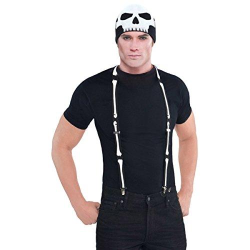 Halloween Hosenträger Black Bone, Skelett Hosenträger, Fasching Kostüme (Hosenträger Halloween)