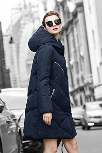 YOU.U NEW ARRIVAL Damen Wasserdichte Lange Winterjacke Blau