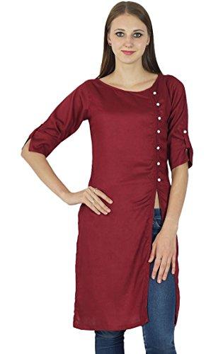 Frauen Designer Asymmetrische Cotton Red Kurti Indian Kurta zufällige Spitze Tunika-Kleid (Kurta Kleid)