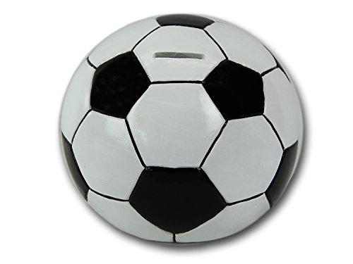 Spardose 'Fussball' - tolle Sparfigur in Fussball-Form, aus Keramik gefertigt, 20x19,5x17,5 cm, Vereinskasse Kaffeekasse Sparen Trinkgeld EM WM Sparbüchse Sparfigur