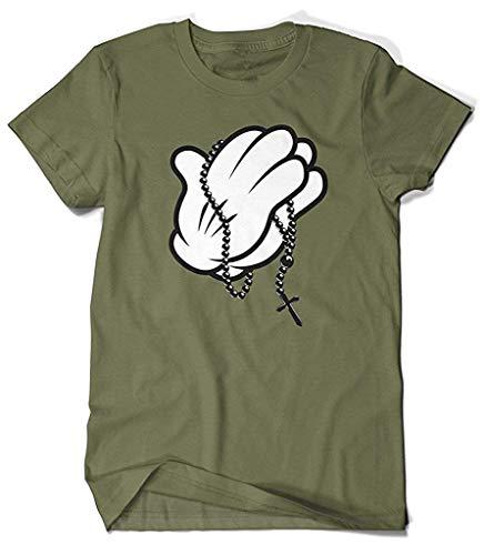 M?nner T-Shirt Generische Baumwolle Cartoon Handschuh Gebet H?nde Rosenkranz Perlen Kreuz Design T-Shirt Olivgr¨¹n L