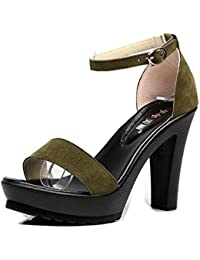 Sandalias de Las Mujeres Summer Scrub Tacones Altos Punta Abierta Simple Shopping Casual Fashion Shoes Tamaño...