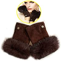 Lyq&st Half Finger Gloves Ladies Winter Gloves Breathable Warm Padded Leather Gloves, Outdoor Skiing & Cycling Gloves