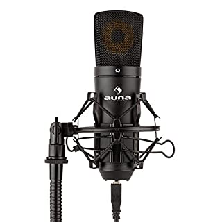 auna MIC-920B • USB Kondensator-Mikrofon • Nierencharakteristik • Metallgehäuse • Frequenzbereich: 30 Hz - 18 kHz • 16 mm Elektret-Mikrofonkapsel • Plug & Play • Mikrofonspinne • schwarz