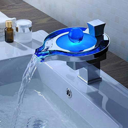 Decorry Perle Torneira Chrome LED Waschbecken Wasserhahn Wasserhahn Neue L-15 Waschbecken Mischer Wasserfall Vanity Vessel Waschbecken Mischer Wasserhähne Wasserhähne - Chrome Perlen