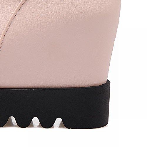 Mee Shoes Damen Pompon runde hidden heels langschaft Stiefel Pink