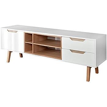 Design Retro Lowboard NORDIC 150cm edelmatt weiß Echt