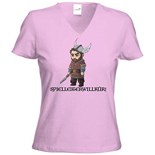 getshirts - Das Schwarze Auge - T-Shirt Damen V-Neck - Let's Plays - Nubor Spielleiterwillkür - Chibi Rose