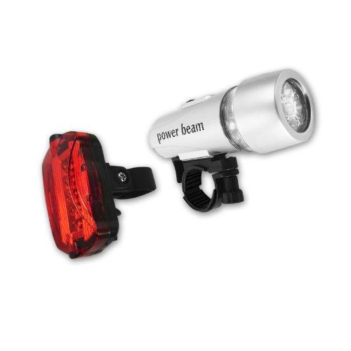 Preisvergleich Produktbild Eaxus Beleuchtungsset 5 LED + verschiedene Leuchtmodi vorne und hinten inklusive Fahrradhalterung, Taschenlampe, rotes Blinklicht, Gesehen werden, Batteriebetrieben