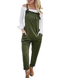Tomwell Femme Salopette Été Jumpsuit Combinaisons avec Poches Bodysuit Loose Casual Large Ample Harem Sarouel Pantalon