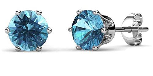 Private Twinkle Boucles d'oreilles en pierre blanche plaqué or 18 carats en cristal de SWAROVSKI pour femme (5mm, 6 griffes) (12. Topaze bleue)