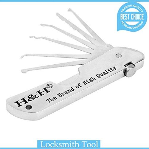 loboo - zusammenklappbares Werkzeug-Set von H&H, mit Haken zum Öffnen von Schlössern, tragbar, für Vorhängeschloss, Reparatur-Set für Schlosser -