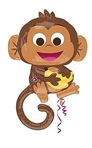 """Amscan International-Globo en forma de""""feliz mono de 3457301pulgadas Super forma"""""""