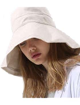 Moda Algodón Sombrero Señora Verano Nuevo Ala De Gran Tamaño Sombrero Del Sol Protección UV Sombrero Para El Sol...