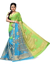 RUHIN Parrot Green And Sky Blue Colour Designer Jumbo Border Viscose Georgette Saree (JB-VG-001)