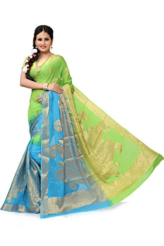 RUHIN Parrot Green and Sky Blue Colour Designer Jumbo Border Viscose Georgette...