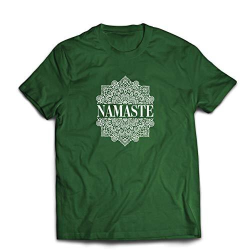 lepni.me Männer T-Shirt Meditation Yoga Namaste Mandala Zen Geistiges Geschenk für Yogi (Medium Dunkelgrün Mehrfarben) -
