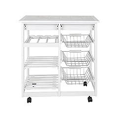 Idea Regalo - POPSPARK Carrello da Cucina in Legno 3 Ceste Portafrutta in Metallo e 4 Ruote Girevoli (67×37×75cm)