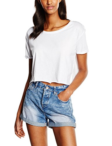 Urban Classics Ladies Short Tee, T-Shirt Donna, Weiß (White 220), M