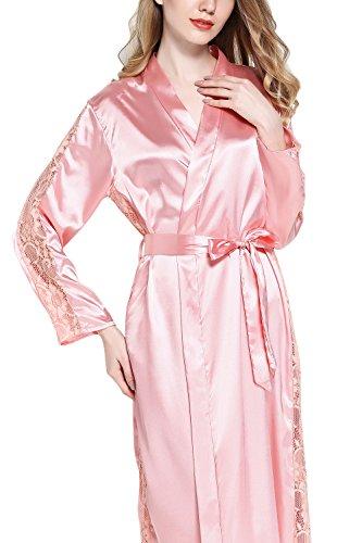 Dolamen Damen Morgenmantel Kimono Lange, Luxuriös Spitze glatte Satin Nachtwäsche Bademantel Robe Kimono Negligee Seidenrobe locker Schlafanzug, Büste 108cm, 45.52 Zoll Rosa