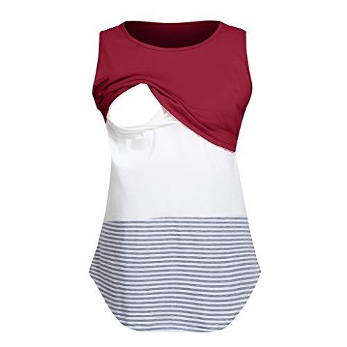 Hündin Tank (Women's Maternity Nursing Top Stillen Tank Top Tee Shirt Doppellage Schlafloses Schwangerschaftshemd S -XXL)