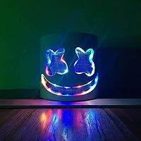 Yukun Máscara Nightclub de Halloween Masquerade Máscara de luz Que emite la Voz Fluorescente DJ Casco Atmósfera eléctrica atmósfera Máscara de luz Led. Siete Colores de luz