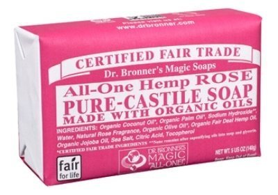 Rose Castile Soap Bar (Dr. Bronner's Organic Castile Soap Bar - Rose (140g) - Pack of 2 by Dr. Bronner's)
