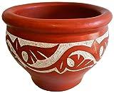 Tadelakt marroquí / sembradora de cuencos de estuco veneciano - Diseño cincelado a mano - Marrakesh rojo - H25 Di32 cm - Muy pesado + 10 kg