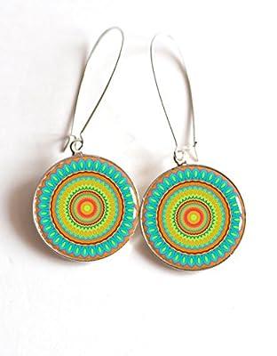 Boucles d'oreilles cabochon Mantra Mandala, turquoise orange et jaune