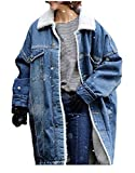 Mantel Damen Lange Elegante Wintermantel Verdicken Jeansmantel Freizeit Trend Fashion Streetwear Style Derbe Schöne Warme Denim Outerwear Coat (Color : Blau, Size : XL)