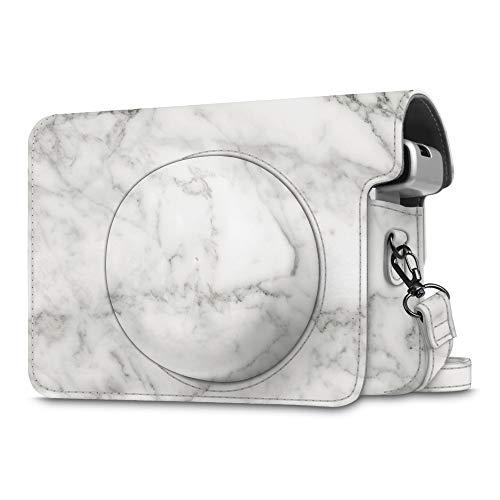 Fintie Schutzhülle für Fujifilm instax Wide 300 Sofortbildkamera - Premium Kunstleder Tasche Reise Kameratasche Hülle Abdeckung mit Abnehmbaren Riemen, Marmor Muster