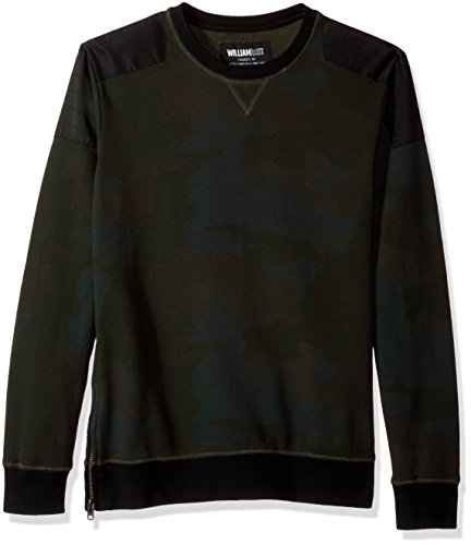 William Rast Herren Hal Crewneck Sweatshirt, Olive Night Camo, Mittel