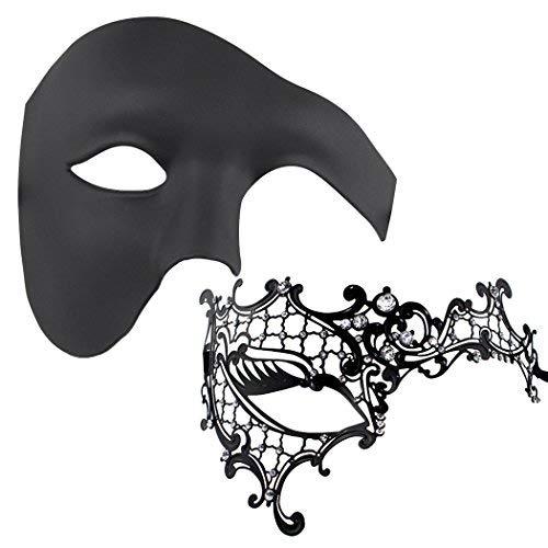 2 Satz gesetzte Unisex venetianische Maskerade-Schablone Cosplay Partei-Halloween-Schablone