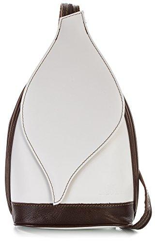 Petit sac à main 2 en 1 porté épaule transformable en sac à dos en autentique cuir italien - Ouverture magnétique type feuille - 'Kim' par LiaTalia(Blanc et bords brun)