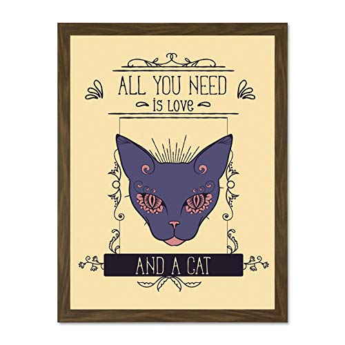 Doppelganger33 LTD Quote Word Art Typography Motivation Love Cat All You Need Large Framed Art Print Poster Wall Decor 18x24 inch Supplied Ready to Hang