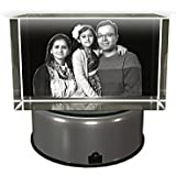 Aadya 3D Crystal Engraved Gifts - Family 3D Photo Personalized Laser Engraved Crystal Cube | Free Multi Color LED Light Base
