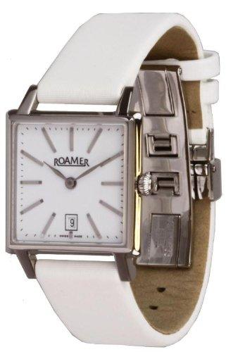 Roamer - 534280412501 - Swiss Made - Montre Femme - Quartz Analogique - Cadran Argent - Bracelet Cuir Blanc