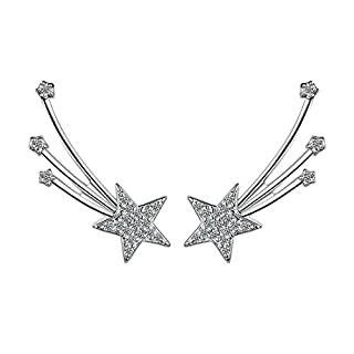 BF-EARRINGS BigForest Simple Angle Wing with Star Style Earring Crawlers Rhinestone Stud Ohrringe Ohrstecker Ohrschmuck