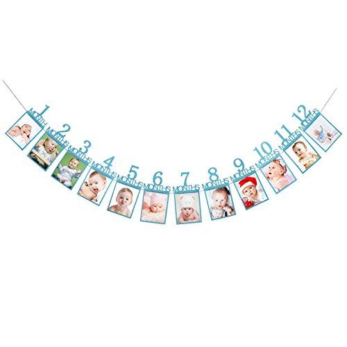 Oblique Unique® Baby Girlande 12 Monate 1. Lebensjahr Monatsgirlande für Jungen Babyshower Schwangerschaft Kinder Geburtstag in Blau mit edlem Glitzereffekt