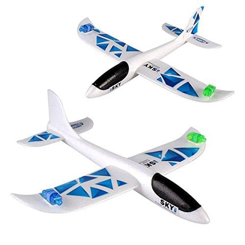 EPP Schaumstoff LED Flugzeug Spielzeug, hunpta 43* 42Schaumstoff Werfen Glider Flugzeug Trägheit LED Nacht Flying Aircraft Spielzeug Hand Launch Flugzeug Modell blau