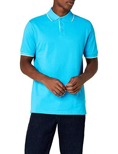 James & Nicholson Herren Poloshirt Polo Campus blau (turquoise/white) XX-Large - Fleece Polo