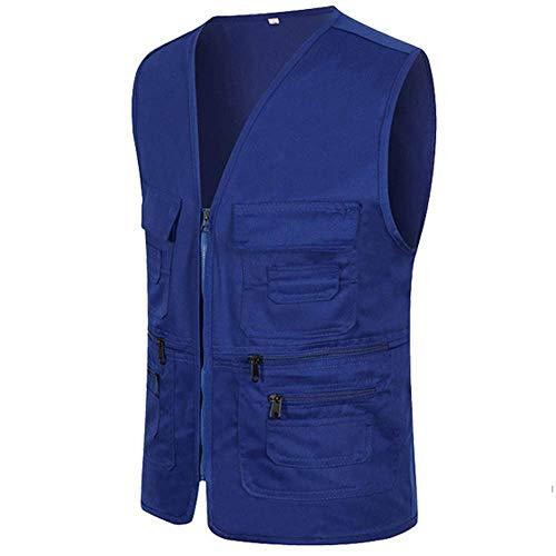 UJUNAOR Männer Ärmellose Cargo Jacke Multi-Pocket-Jackenmantel für Herren(Blau,CN 2XL)