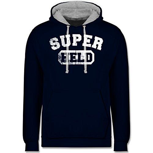änner - Super Held Vintage - 5XL - Navy Blau/Grau meliert - JH003 - Kontrast Hoodie ()