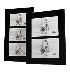 "Kenro Black Glass Frame 7x5"" 3 Aperture"