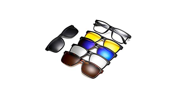 Simple glasses Round Retro Style Sunglasses With 5Pcs Interchangeable Lenses For Men Women Unbreakable TR90 Frame Clip-on UV Protection Sunglasses With Magnetic Unisex glasses